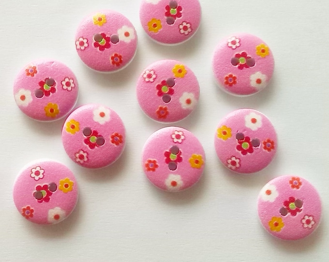 10 x 15mm Pink with red white and yellow flower wooden buttons