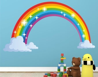 Rainbow Full Colour Wall Sticker Decal Kids Boys Girls Poster Vinyl In 3  Sizes