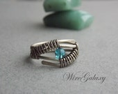 Boho Ring with blue glass in wire wrap art technique, wire wrapped jewelry, wire jewelry, minimalist, cute, gift, eye ring