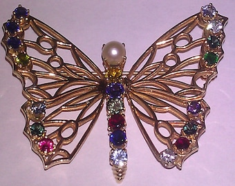 UNIQUE 14K Yellow Gold Vintage BUTTERFLY Brooch Pin