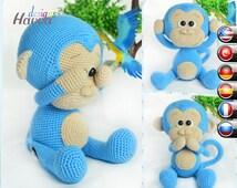 PATTERN  - Cute Blue Monkey