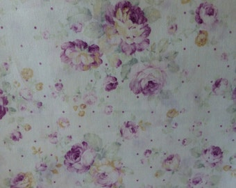 Durham Quilt~Purple Roses on White~Shabby Chic Floral~Cotton Fabric, Quilt~Lecien~Fast Shipping F562