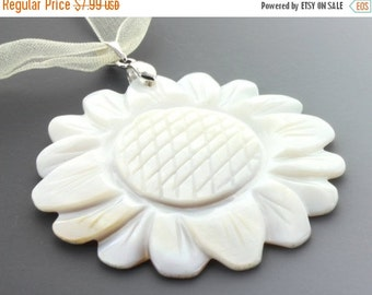 ON SALE Flower Shell Pendant