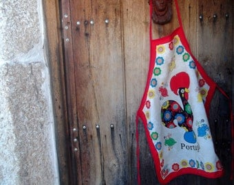PURE COTTON APRON, Barcelos rooster, lucky charm,folk,Portuguse traditional, kitchenalia