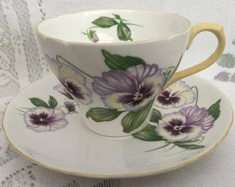 Vintage English SHELLEY Fine Bone China Tea Cup & Saucer - Pansy