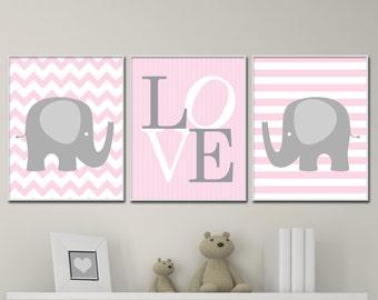 Baby Girl Nursery Wall art Prints.  Pink and Grey Nursery Elephant Art Prints. Suits Pink And Grey Nursery Decor. H226