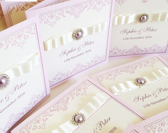 20 x Lilac Pearl Wedding Invites Luxury, Satin Ribbon Bow and Embellishment Invitations (larger quantities available)