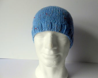 Men's Caps. Men's knit cap. Men's beanie hat. Knit hats for men. Blue beanie hat. Guy's skull cap. Blue tweed hat.  Hand knit hat.