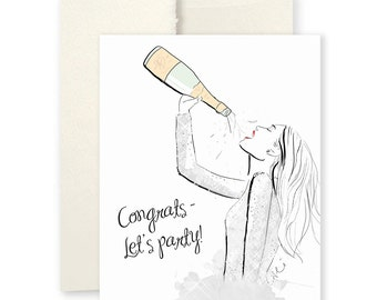 Champagne Congrats - Greeting Card, Fashion Illustration, Congratulations Card, Party Card