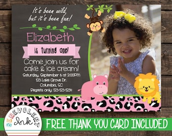 Safari First Birthday Invitation - Jungle 1st Birthday Invite - Printable Party Invitation - First Birthday Girl - First Birthday Boy