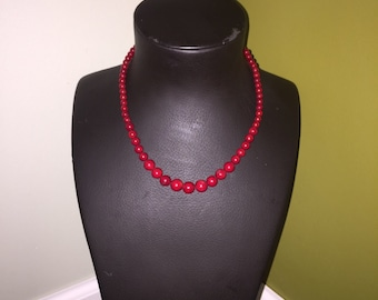 Vintage red glass beads