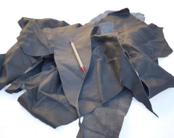 Cowhide Upholstery Grey scrap leather pieces/off cuts 0.5 kg bag