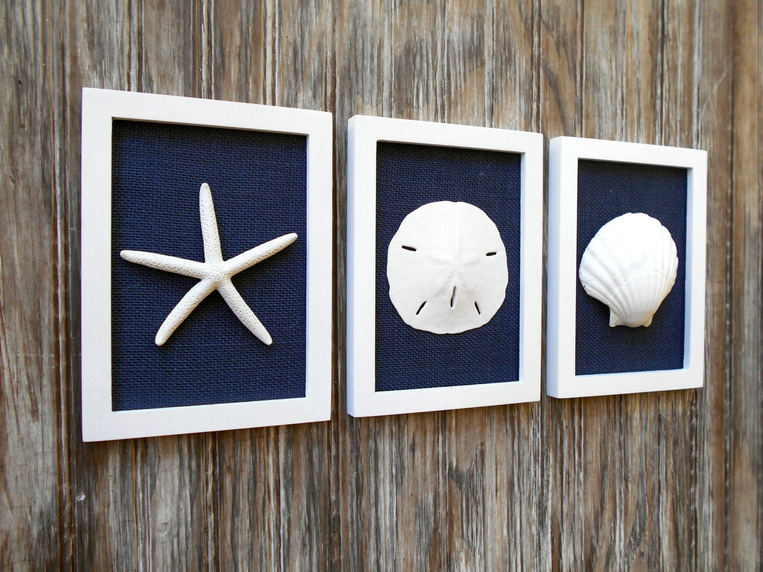 Cottage chic set of beach wall art beach house decor navy for White wall decor