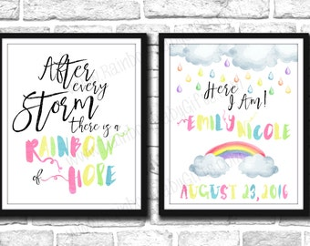 Rainbow Baby Birth Announcement Signs, PRINTABLE Pastel Rainbow Watercolor Baby Announcement Signs, Rainbow Baby Nursery Wall Art