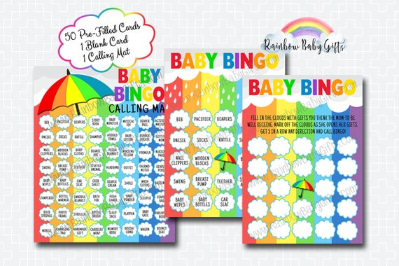 Rainbow Baby Shower Bingo