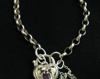 Vintage Sterling Amethyst Heart Padlock Bracelet