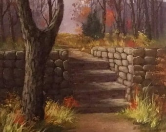 Original Acrylic Painting 16x20 of Steps into Path to Nowhere