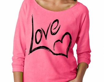 Love With Heart Valentines Day Slouchy Off the Shoulder Oversized Sweatshirt