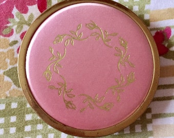 Beautiful Pink & Brass Vintage Powder Compact