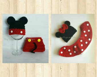 Minnie and Mickey Mouse Boy Girl Twin Photography Photo Prop Diaper Cover Outfit Set Disney Twins Newborn Preemie