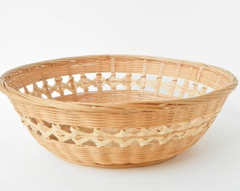 Vintage Woven Basket - Small Weave - Made In Peoples Republic Of China - Stains TLC