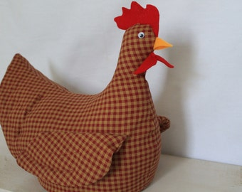 Retro Chicken Doorstop Tan and Red Checkered Chicken