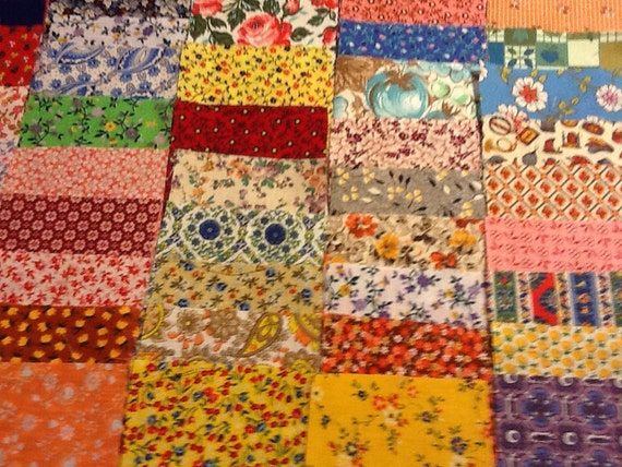 Lot Of One Hundred Pieces 3 Inch Squares Of Feedsack And