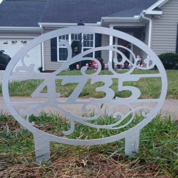 House number yard sign with stakes by secondnaturedesigns1 - House number signs for yard ...