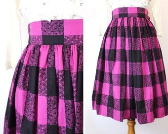 One only! 1950's skirt / 50's skirt / gathered vintage skirt / vintage reproduction / vintage fabric / size S
