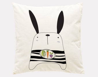 Black and white bunny pillow covers, throw pillow,  cover, Decorative pillow cover, Animal pillow