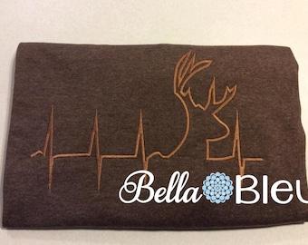 EKG Heartbeat heart beat of a Hunter, Deer, fill machine Embroidery  Design