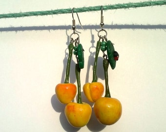 Cherry Yellow cherry Cherry Berry Earrings cherry Berry earrings Nature stile Summer Earrings  Spring Earrings Yellow Idea for gifts