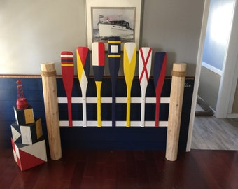 Nautical Queen Flag Headboard (FREE SHIPPING), Shabby Headboard, Cottage Headboard, Cabin headboard, Nautical Headboard