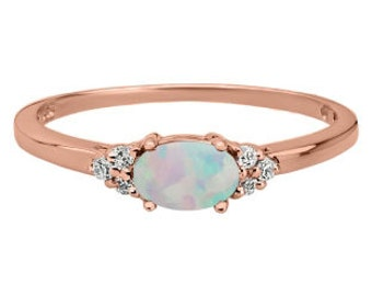 Petite Oval Cut Opal Gemstone Diamond Rose Gold Ring In White Rose Yellow Gold or Silver, October Birthstone Opal Jewelry Opal Gemstone Ring