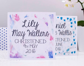 Christening Card For Boys and Girls - Baptism Card - Naming Day Card - Personalised Card - Personalized Baptism Card