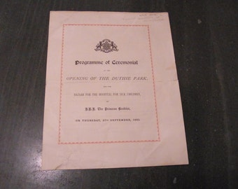 Antique Royal Programme 1883 Princess Beatrice Ceremonial Programme 1883 Victorian Royal  Ceremonial  DUTHIE PARK Scotland 1883