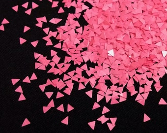 solvent-resistant glitter shapes- bright pink triangles