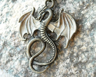 Viserion Dragon Pendant Necklace - hand painted- Inspired by Daenerys Targaryen Game of Thrones