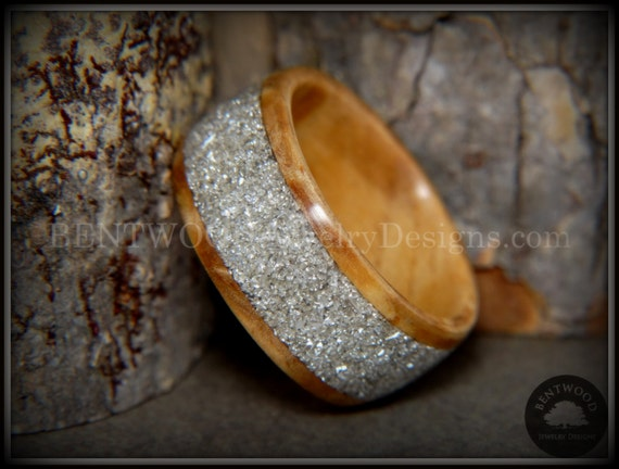 Bentwood Wood Ring Using Bethlehem Olivewood With Wide Silver