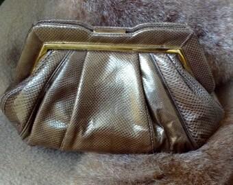 Vintage JUDITH LEIBER Karung Snakeskin Clutch Shoulderbag Bronze