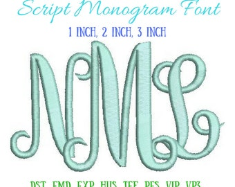 Script Monogram Embroidery Font - 1 inch, 2 inch, 3 inch