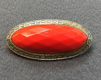 Bright Red Art Deco Red Glass Bar Brooch-Free shipping