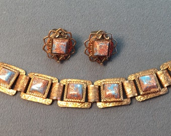 Copper Glitter Glass Bracelet and Clip Earrings Set-1950's.  Free shipping