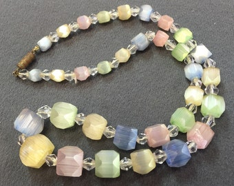 Pretty and Unusual Vintage Pastel Glass Bead Necklace-Free shipping
