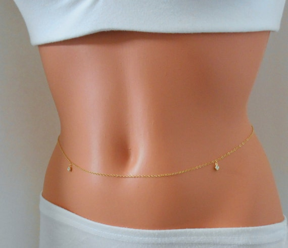 Items Similar To Cz Diamond Belly Chain Gold Belly Chain