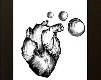 Bubbles A4 print framed