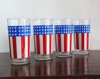Stars & Stripes Glasses 1970s Vintage American Flag Tumblers Four (4) Red White Blue Highballs Fourth of July July 4th Patriotic Glassware