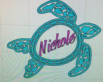 Turtle Vinyl Decal Monogram or Name