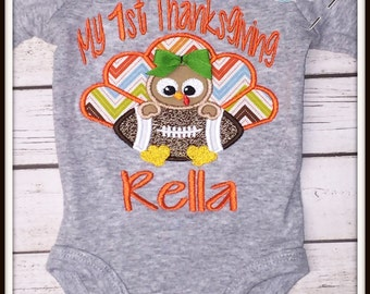 My 1st Thanksgiving Shirt/Bodysuit with 3D Hairbow
