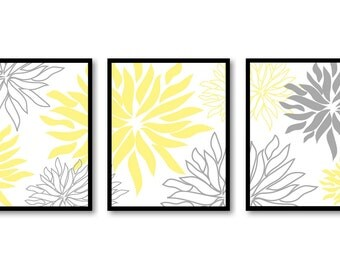 Yellow Grey Home Decor Wall Art Bathroom Wall Decor Chrysanthemum Flower Set of 3 Art Print Flower Print Bedroom Decor Living Room Kitchen